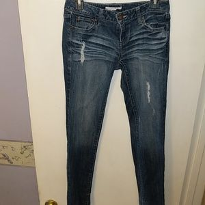 Ripped skinny blue jeans